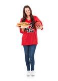 Futbol: Ładna kobieta Z talerzem kanapki I piłka Obrazy Stock