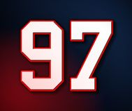 97 futbol amerykański sporta bydła Klasyczna liczba w kolorach flaga amerykańska projekta patriota, patriotów 3D ilustracja royalty ilustracja