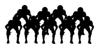 Futbol amerykański gracze na potyczki linii wektoru sylwetce Rugby graczów drużynowa wektorowa ilustracja Obrończa formacja w ac ilustracja wektor