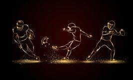 Futbol amerykański gracze ustawiający Złota liniowa gracz futbolu ilustracja royalty ilustracja
