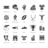 Futbol amerykański, rugby glifu wektorowe płaskie ikony Bawi się gemowych elementy - piłka, pole, gracz, hełm, fan palec, przekąs royalty ilustracja