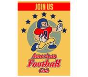 Futbol Amerykański kreskówki rocznika rekrutaci plakat Obrazy Stock