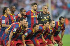Futbol Club Barcelona Team. Before the match between FC Barcelona and Mallorca in Nou Camp Stadium in Barcelona, Spain. October 3, 2010 Stock Photo