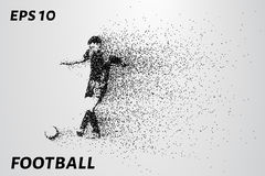 Futbol cząsteczki niesie wewnątrz wiatr Sylwetka gracz futbolu od okregów również zwrócić corel ilustracji wektora Zdjęcia Royalty Free