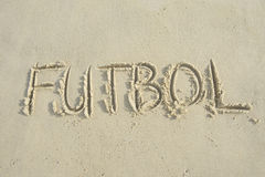 Futbol Handwritten Football Soccer Message Sand Beach Royalty Free Stock Photos