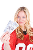 Futbol: Kobiety mienia bilety gra fotografia royalty free