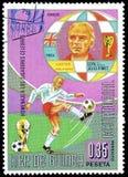 Futbol na znaczkach pocztowych obraz stock