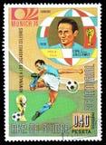 Futbol na znaczkach pocztowych obraz royalty free