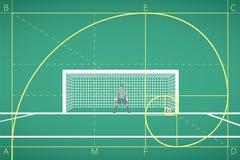 Futbol, piłka nożna bramkarz stojak przy celem na polu/ Matematycznie obliczenie lot piłka Zasada Złoty współczynnik royalty ilustracja