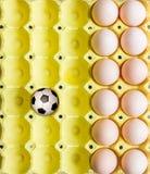 Futbol w jajecznej tacy Obraz Royalty Free