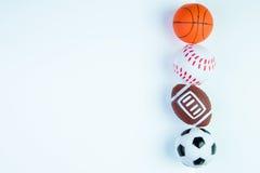 Futbol zabawka, baseball zabawka, koszykówki zabawka i rugby zabawka, odizolowywamy Zdjęcie Royalty Free