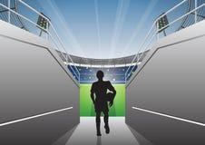 Futbolista con caminar en un túnel del estadio libre illustration