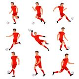 Futbolista que juega con el balón de fútbol stock de ilustración