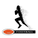 Futbolista que se derrumba en dinámica en pequeñas partículas stock de ilustración