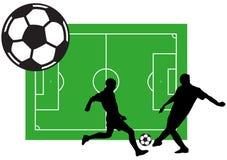 Futbolistas con la ilustración de la bola Fotografía de archivo