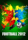 Futbolistas con un balón de fútbol. Illust del vector Imágenes de archivo libres de regalías