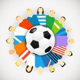 Futbolistas de los equipos nacionales alrededor del balón de fútbol Fotografía de archivo libre de regalías