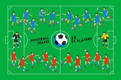 Futbolistas en un campo verde Jugadores de fútbol en diversas posiciones que juegan a fútbol respecto a un estadio espectacular Fotos de archivo