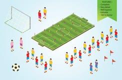 Futbolistas isométricos del detalle en estadio libre illustration