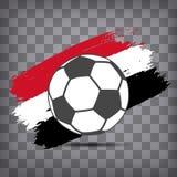 futbolowa balowa ikona na egipcjanin flaga tle od szczotkarskiego uderzenia ilustracji
