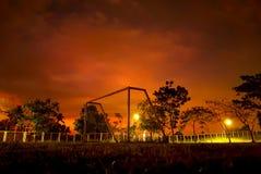 Futbolowa brama w zmroku zdjęcie royalty free