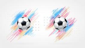 Futbolowa filiżanka 2018, piłki nożnej mistrzostwa ilustraci set Dynamiczne kolorowe linie odizolowywać na białym tle realistyczn ilustracja wektor