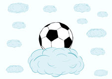 Futbolowa piłka na chmurze Zdjęcia Stock