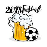 Futbolowa ręka rysujący literowanie i latająca piłka z pluśnięciami dla futbolowej filiżanki 2018, piłki nożnej mistrzostwo, FIFA ilustracji
