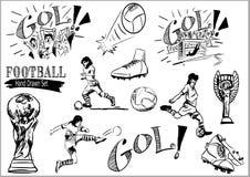 Futbolowa ręka Rysujący piłka nożna set royalty ilustracja