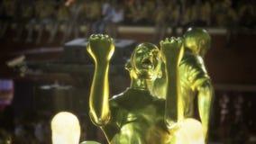 Futbolowa temat scena przy Sambodromo stadium Karnawałową paradą Obrazy Royalty Free