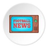 Futbolowa wiadomość na TV ikonie, kreskówka styl royalty ilustracja