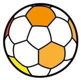 Futbolowa złocista piłka w kreskówka stylu Obraz Stock