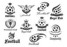 Futbolowe balowe wektorowe ikony dla królewskiej piłki nożnej royalty ilustracja