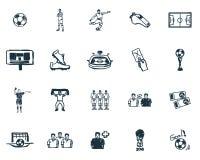 Futbolowe ikony ustawiać Premii ilości symbolu kolekcja Succer ikony ustaleni prości elementy ilustracja wektor