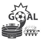 futbolowe ikony ustawiają piłkę nożną Obrazy Royalty Free