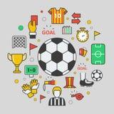 Futbolowe piłki nożnej Kreskowej sztuki Cienkie ikony Zdjęcie Royalty Free