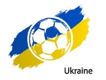 Futbolowego ikony Ukraina flaga grunge stylu wektorowa ilustracja odizolowywająca na bielu royalty ilustracja