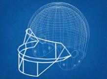 Futbolowego hełma projekt - architekta projekt Zdjęcie Stock