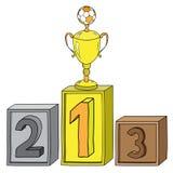 Futbolowego mistrza Złocistego filiżanki, zwycięzcy medalu podium, pierwszy miejsce, drugi na trzecim miejscu i miejsce, złoty me Zdjęcie Stock