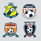 Futbolowego odznaka loga szablonu inkasowy projekt, piłki nożnej drużyna, vecto Zdjęcie Stock