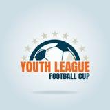 Futbolowego odznaka loga szablonu inkasowy projekt, piłki nożnej drużyna, vecto obrazy royalty free
