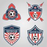 Futbolowego odznaka logo szablonu inkasowy projekt, piłki nożnej drużyna, wektor Sport, ikona royalty ilustracja