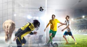 Futbolowi gorący momenty Mieszani środki obrazy stock