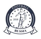 Futbolowi 2018 Rosja Sporty logotyp z kopaczem ilustracji