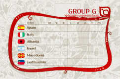 Futbolowy światowy mistrzostwo, grupowy G stół rezultaty, wektorowy te ilustracja wektor