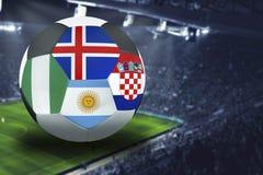Futbolowy filiżanki grupy d w Rosja: Chorwacja, Argentyna Nigeria, lód royalty ilustracja