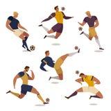 Futbolowy gracz piłki nożnej ustawiający odosobneni beztwarzowi ludzcy charaktery współczłonkowie drużyny arbitrzy i rywalizaci t Obrazy Royalty Free