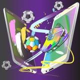 futbolowy kopie daleko grę z telefon technologii sztuką Obraz Royalty Free