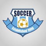 Futbolowy piłki nożnej odznaki logo szablonu projekt, piłki nożnej drużyna, wektor Sport, ikona ilustracja wektor