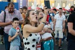 Futbolowy puchar świata, fan fan strefa, festiwal fan Obraz Royalty Free